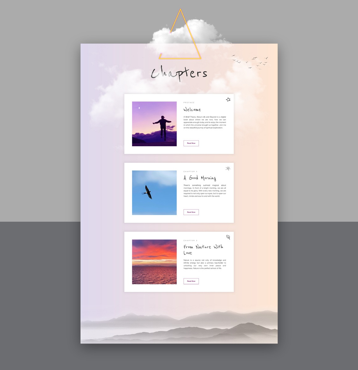 Web design using Webflow CMS for the chapters of the Brief Theory of Life e-book.