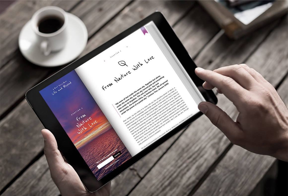 The UI/UX design of an e-book website being displayed on a tablet.