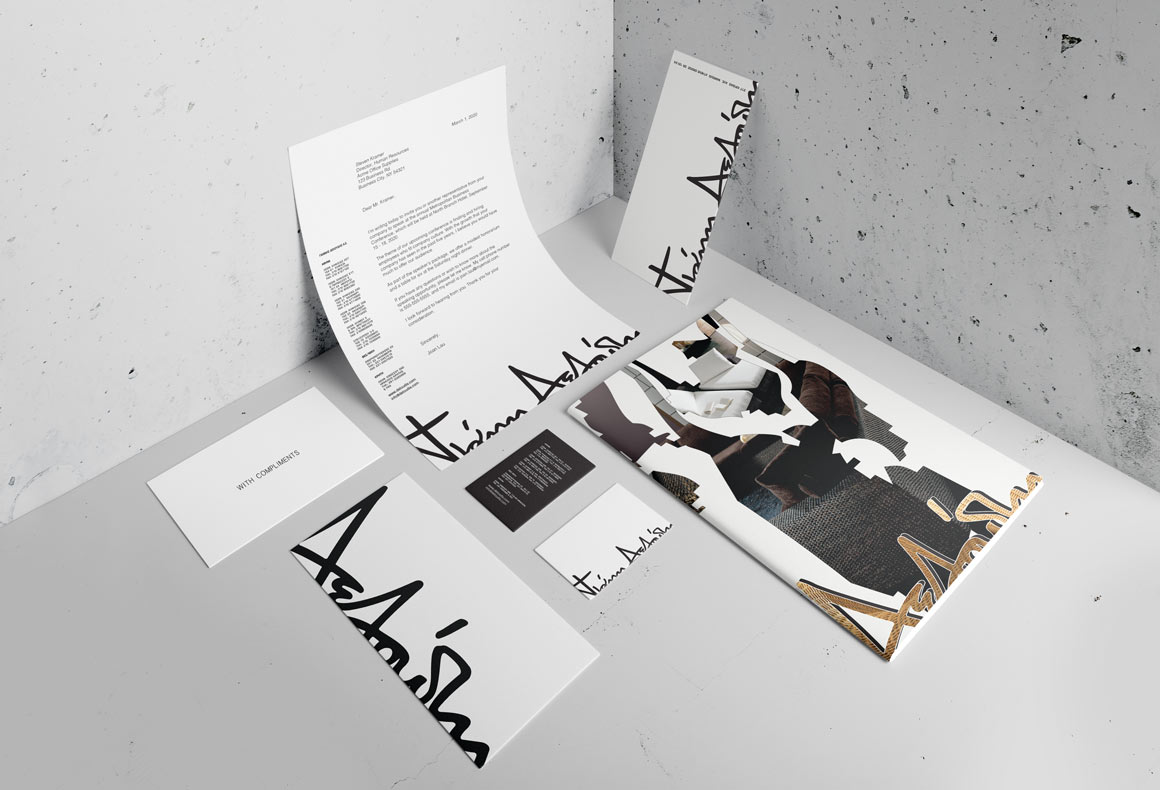 The corporate stationary for Deloudis minimalist black and white brand identity.