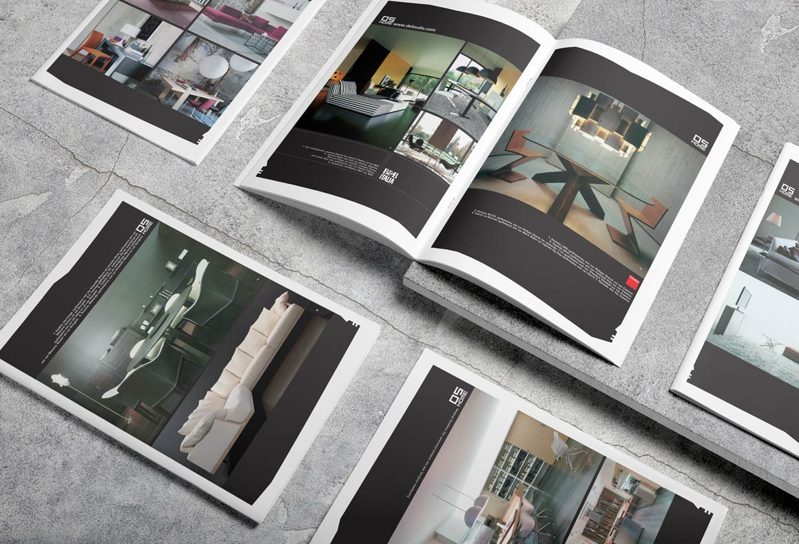 The minimalist layouts of a brochure designed for Deloudis furniture.