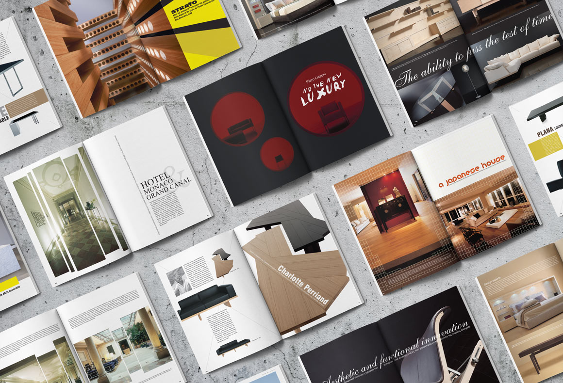 Multiple layout designs for Deloudis home interiors magazine.