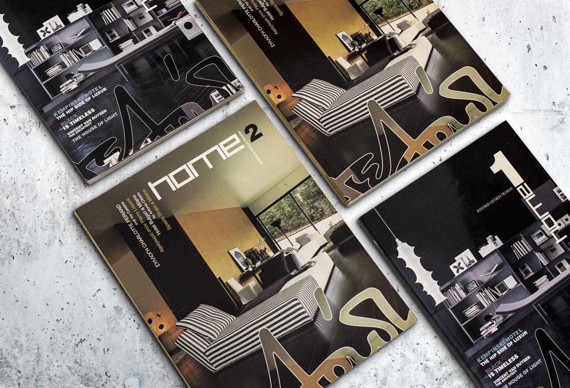 Several covers of interior design and furniture magazines designed for Deloudis.