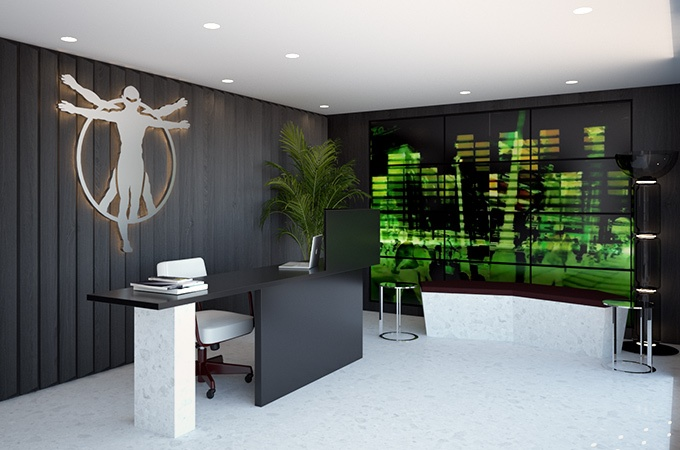 A modern reception design in a black and white scheme with accents of color.
