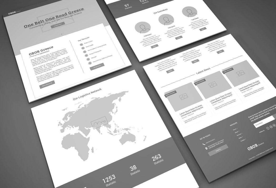 The wireframe presentation for BRI Greece corporate website.