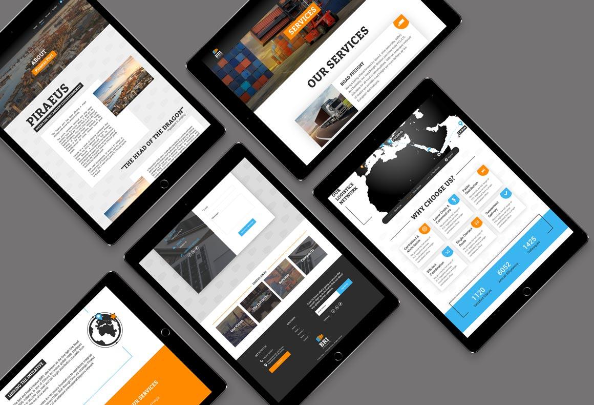 Several tablets showing BRI's responsive website design.