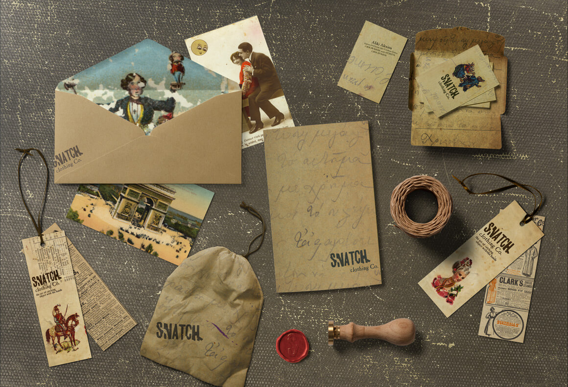 Snatch's brand identity designed by Reform, including logo, business cards, stationary, packaging and clothing labels.
