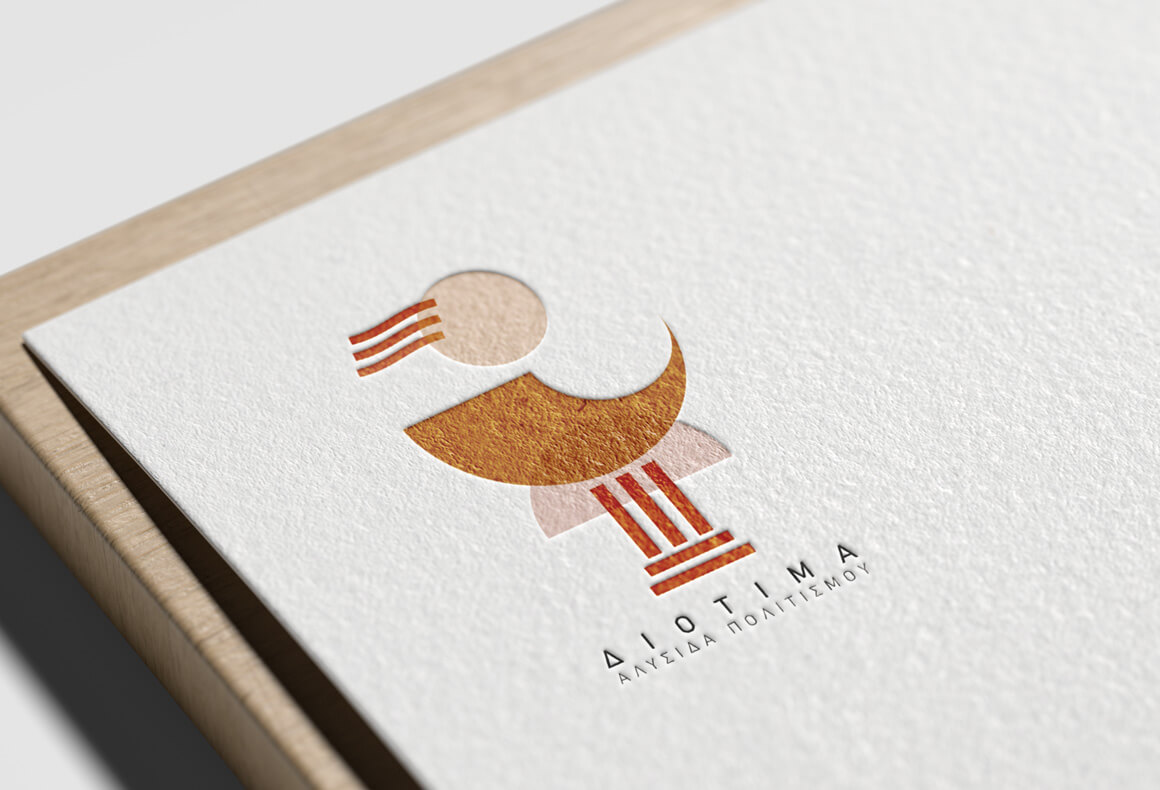 A fresh and youthful logo design for Diotima Cultural Institution embossed on cotton card stock.