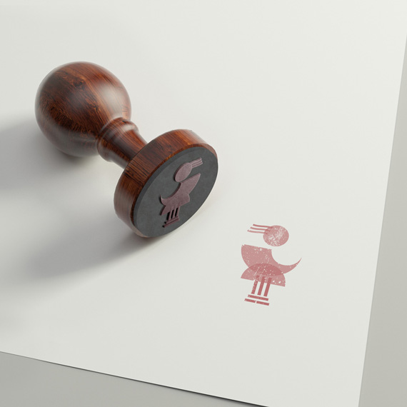 A branded rubber stamp and imprint with Diotima's logo.