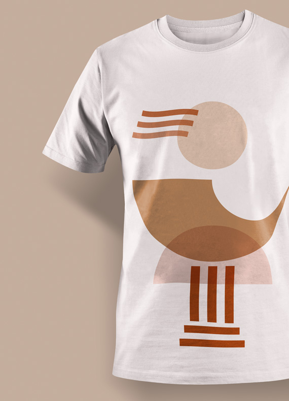 A custom t-shirt design with the oversized logo of Diotima Cultural Institution.