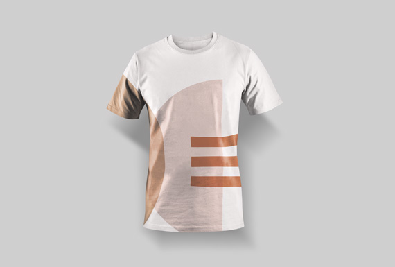 A branded t-shirt for Diotima Cultural Institution with a geometric design in terracotta, peach and blush pink hues.