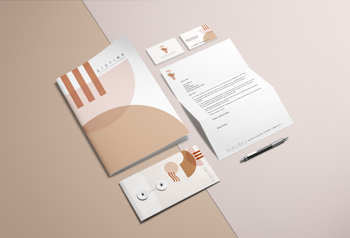 The visual identity design for Diotima Cultural Institution including business cards, letterhead, envelope and brochure.