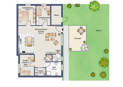 Großzügige neuwertige Eigentumswohnung mit Terrasse und Garten