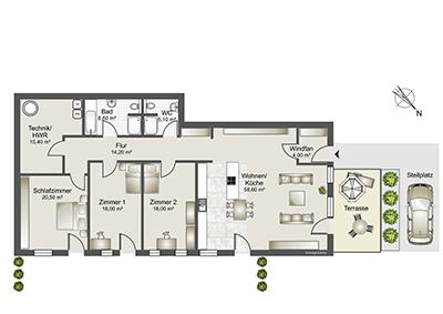 Großzügige Neubau-Doppelhaushälfte in ruhiger Lage von Gudensberg-Deute