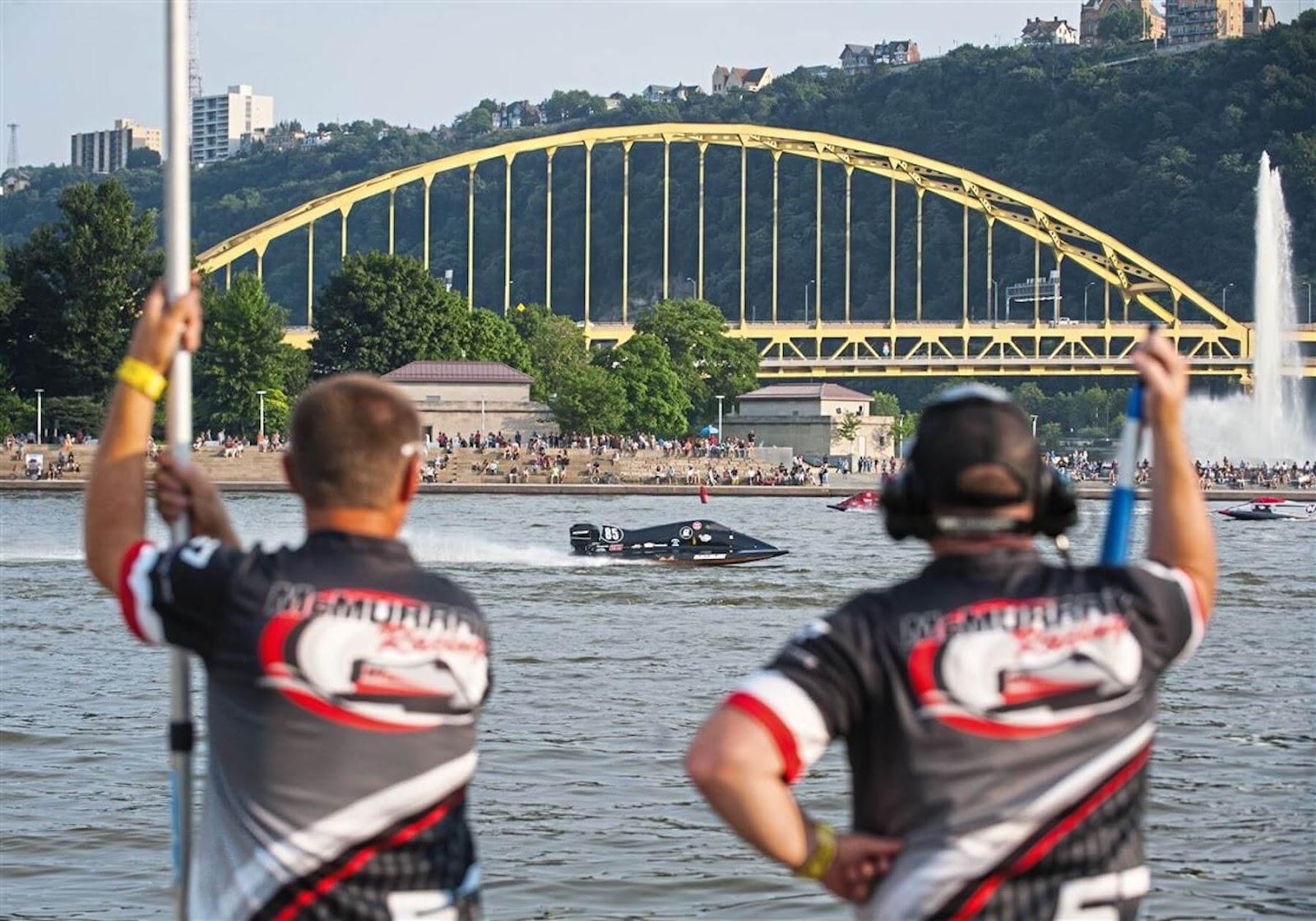 boat racing in the Three Rivers Regatta