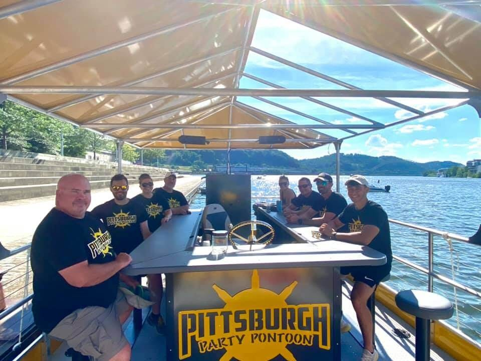 Group of people on a Pittsburgh Pedal Boat