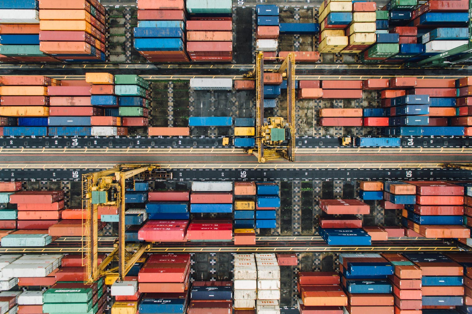 Aerial photo of colourful storage containers.