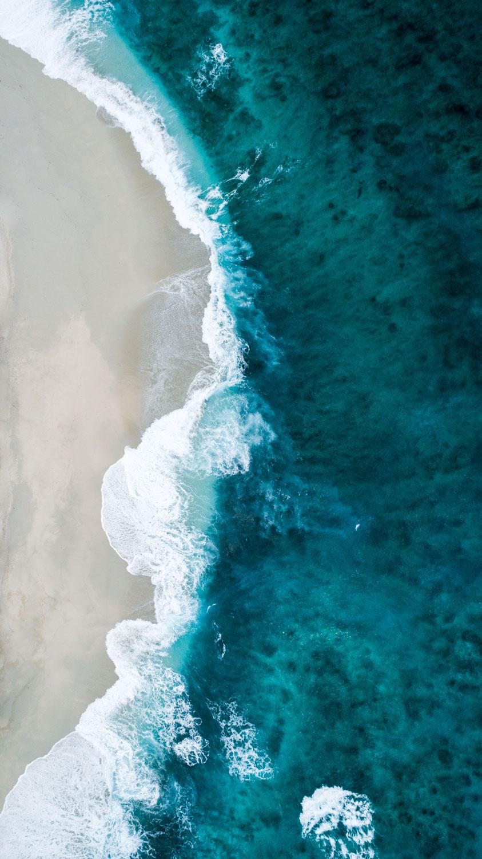 Aerial photo of a tropical beach.