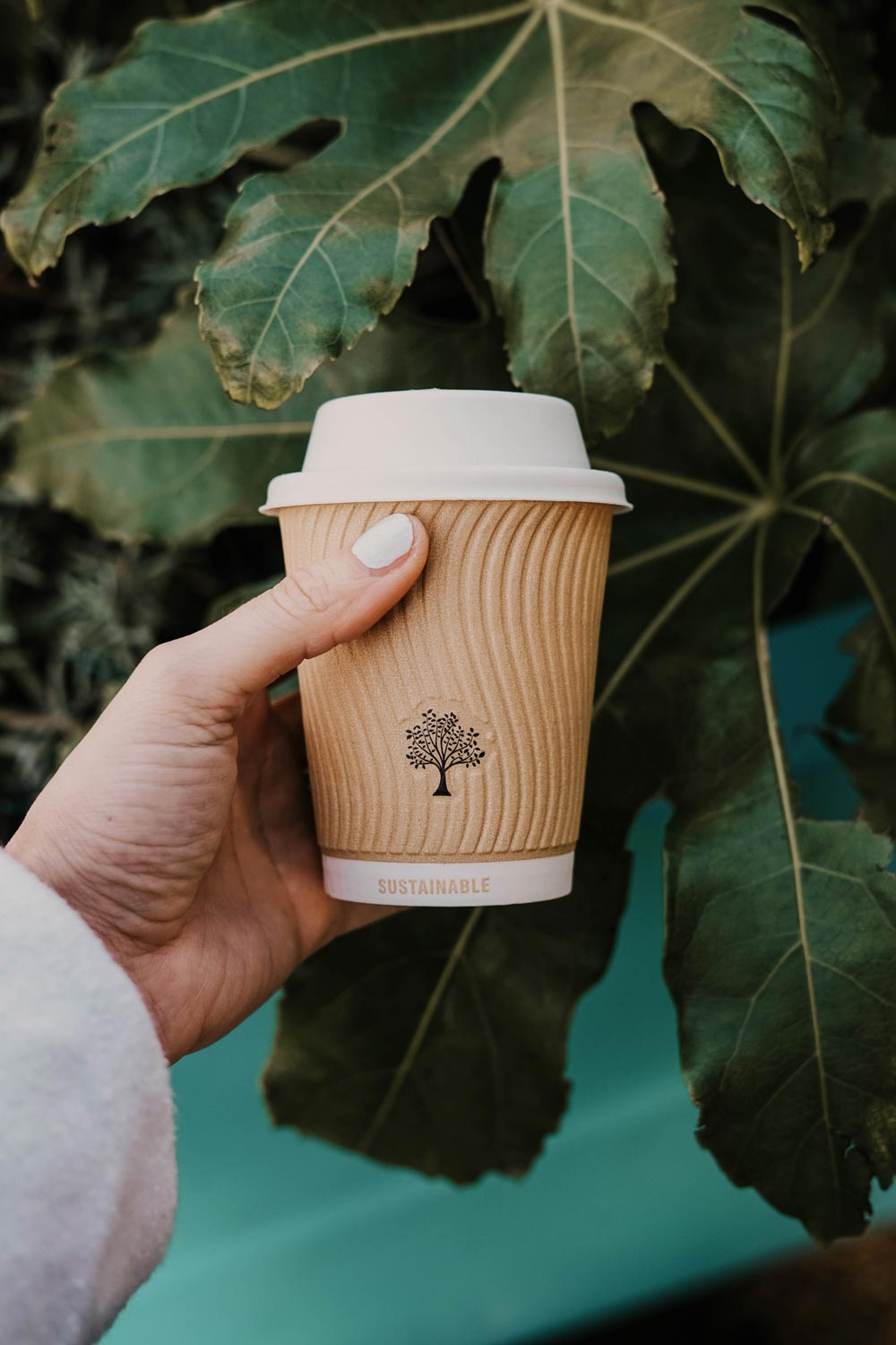 """Photo of a hand holding a paper cup that says the word """"Sustainable"""" on it."""