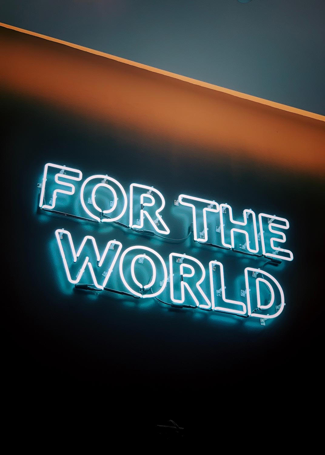 """Photo of a neon sign that says """"For the world""""."""
