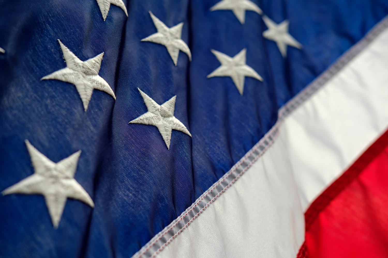 Closeup photo of the American flag.