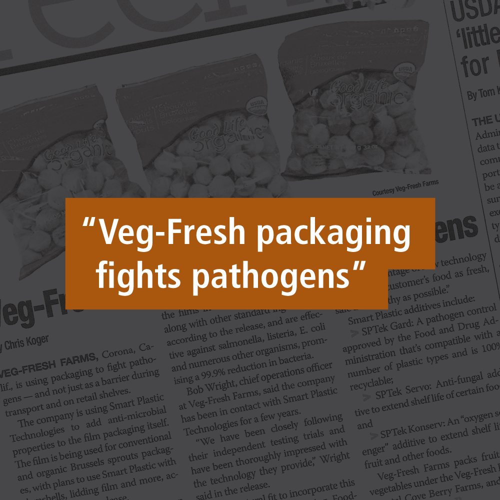 """Text which reads """"Veg-Fresh packaging fights pathogens""""."""