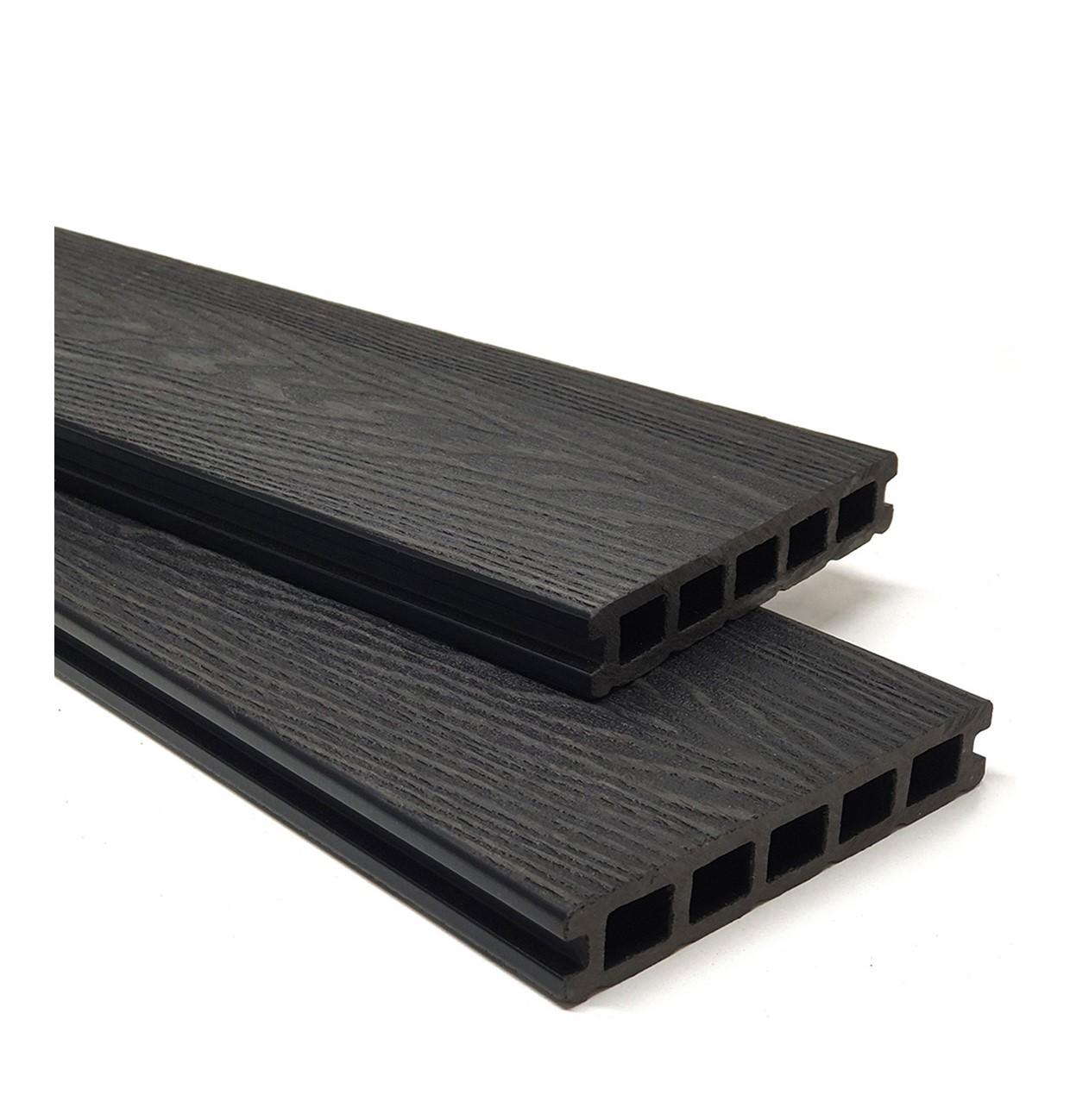 Charcoal Black Wood Grain Composite Decking Kit 3.6m Boards (Reversible)