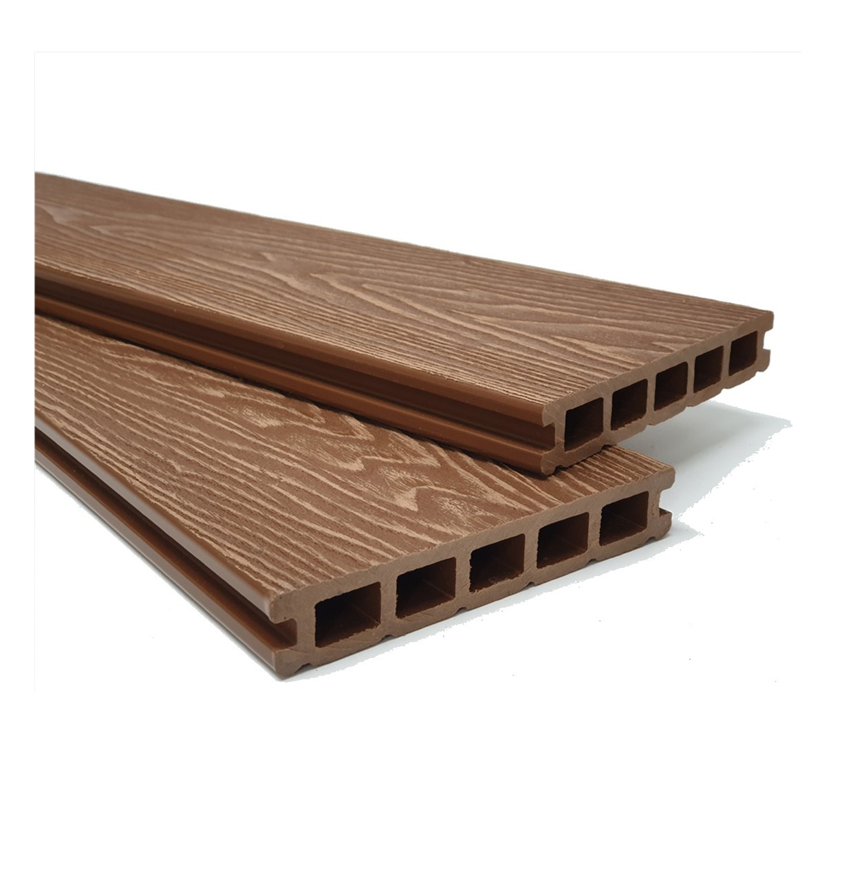 Teak Brown Wood Grain Composite Decking Kit 3.6m Boards (Reversible)