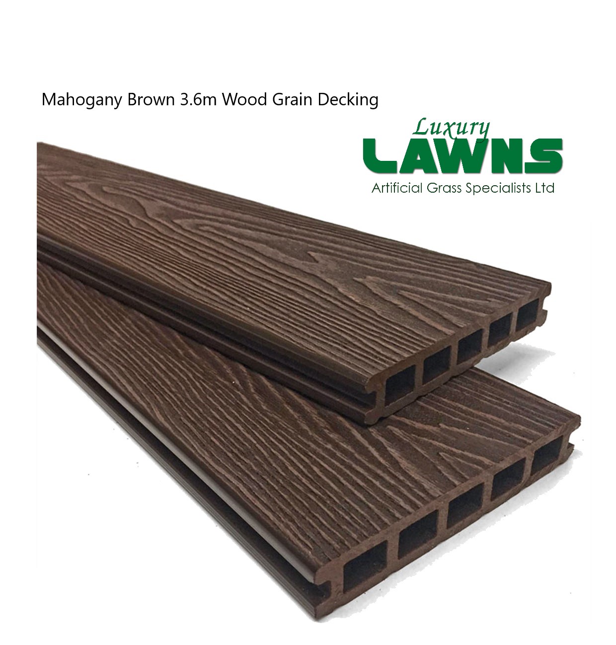 Mahogany Brown Wood Grain Composite Decking Kit 3.6m Boards (Reversible)
