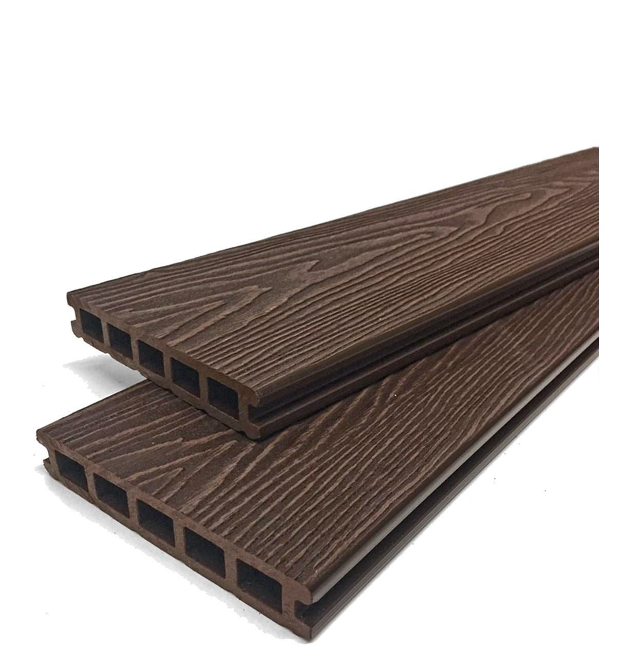 Mahogany Brown Reversible Wood Grain Composite Decking Kit 3.6m Boards (Price per sqm/£27 per board)