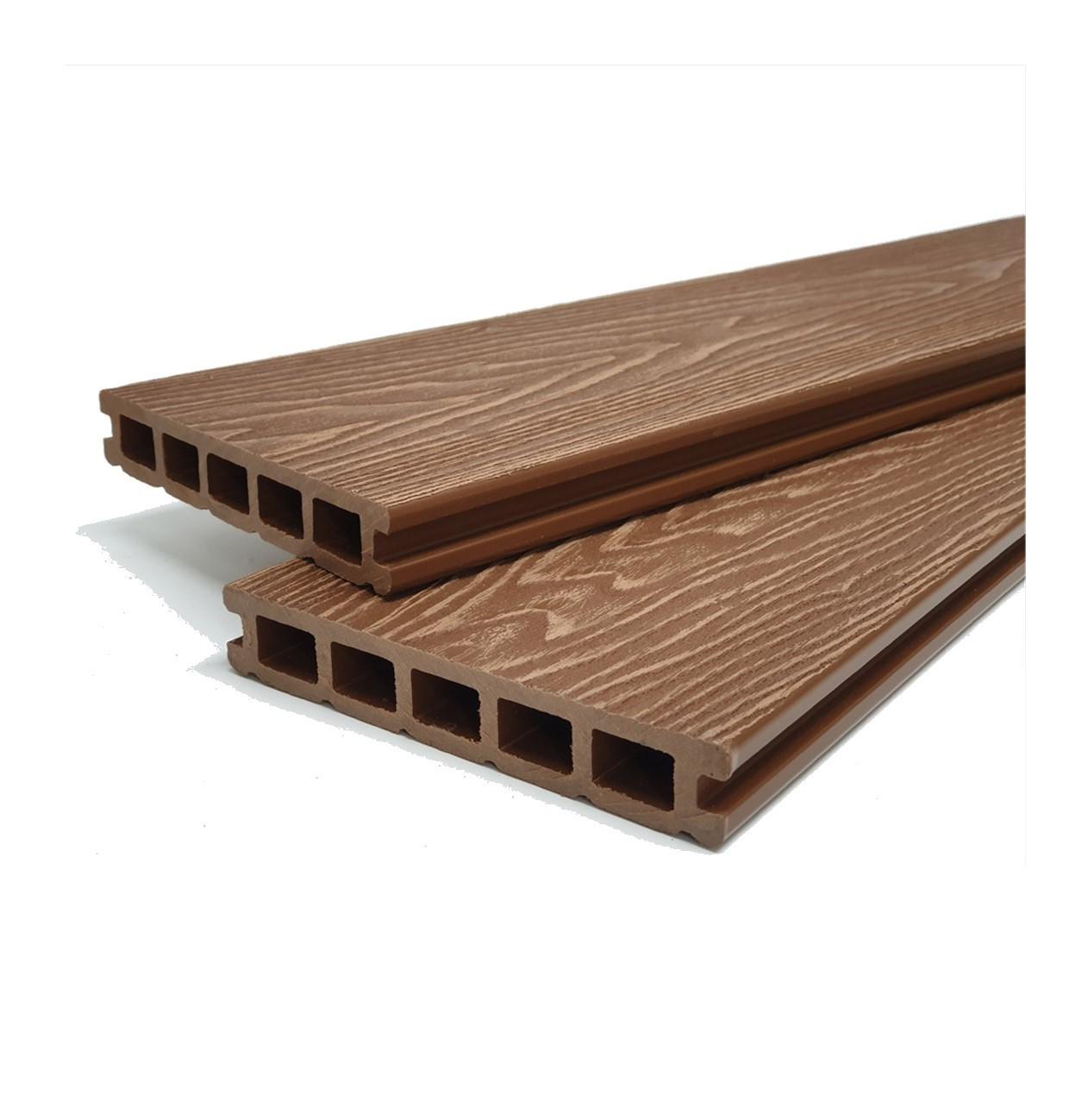 Teak Brown Reversible Wood Grain Composite Decking Kit 3.6m Boards (Price per sqm/£27 per board)