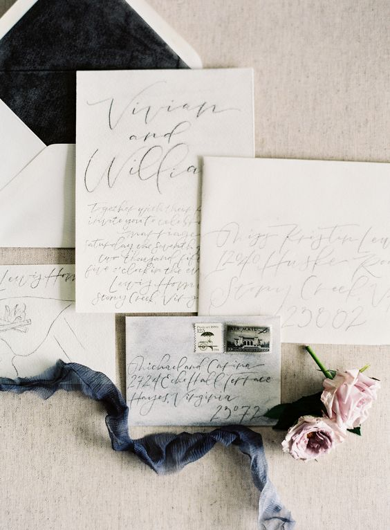 © photo: Michael and Carina Photography / Invitations et calligraphie: Stephanie B. Design: