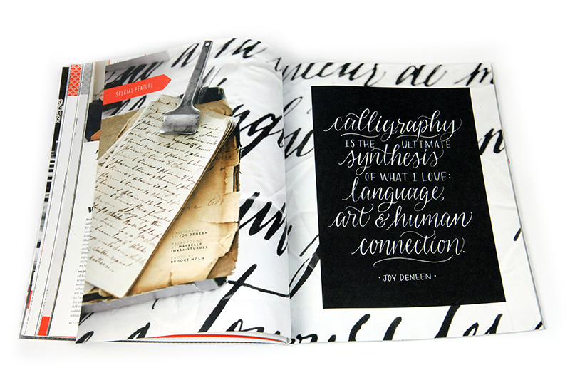 Article sur la calligraphie paru dans la revue UPPERCASE © photo: UPPERCASE Magazine