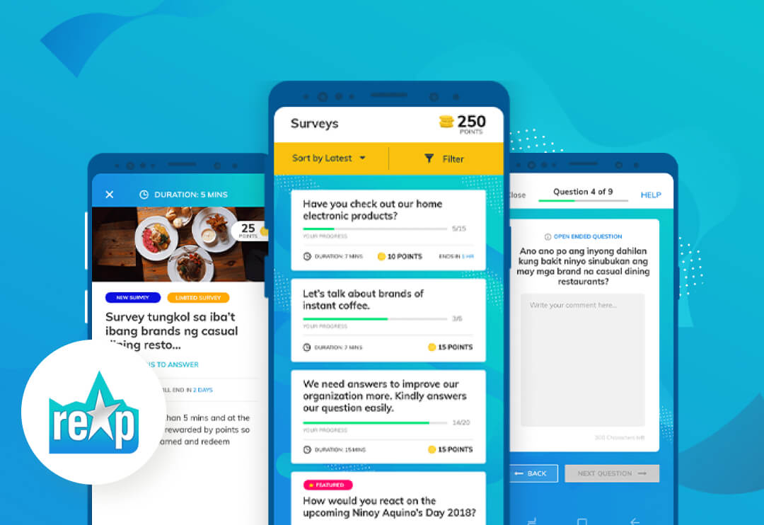 A mobile where users can answer surveys to earn points that can be exchanged for rewards.