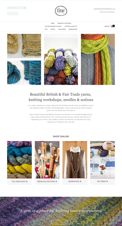 Web design portfolio mockup for Fine Fettle Fibres