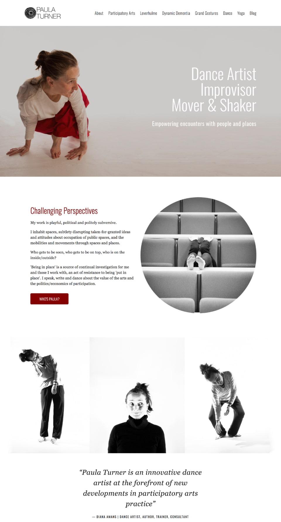 Web design portfolio mockup for Paula Turner