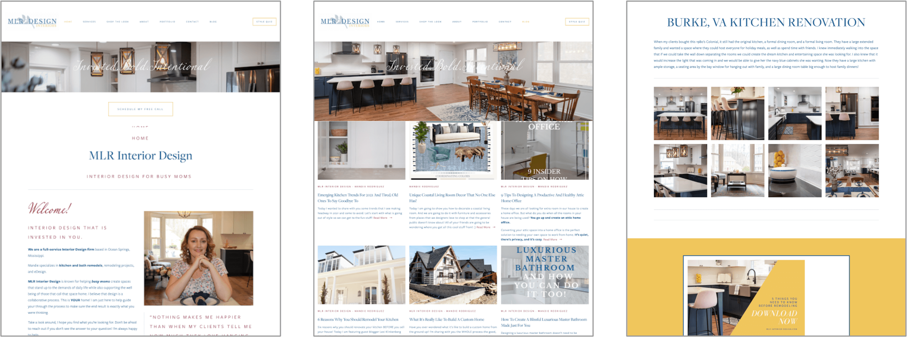 MLR Interior Design Website Design Before