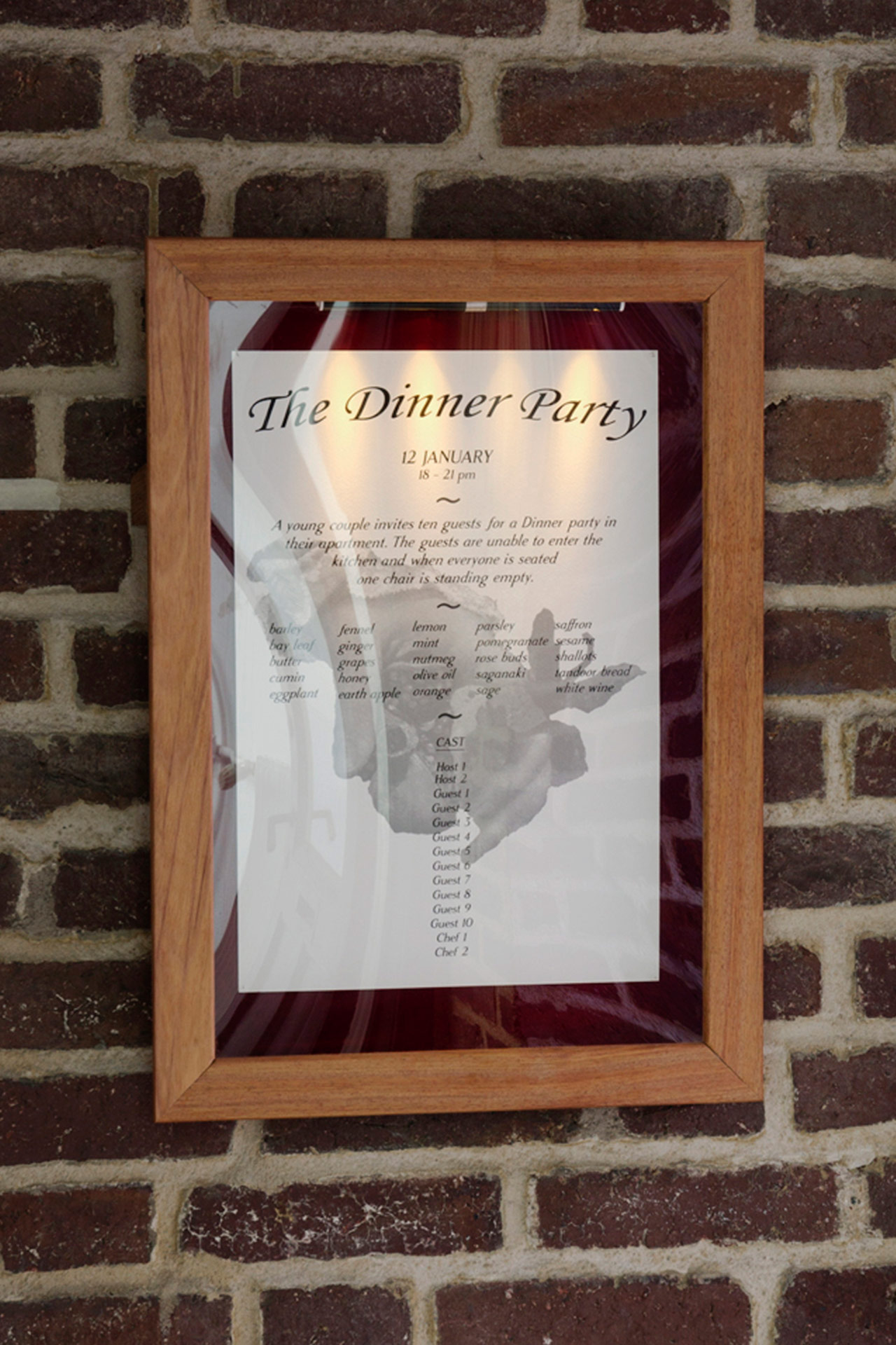 The Dinner Party, Menu, 2018