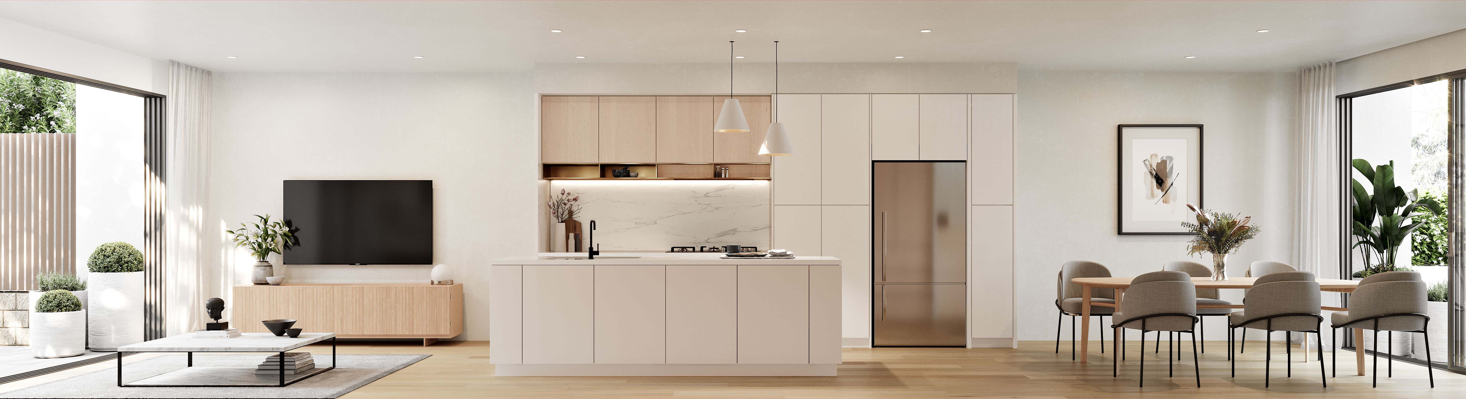 CGI of the beautiful pale oak finishes of the apartment interior with luxury living, kitchen and dining