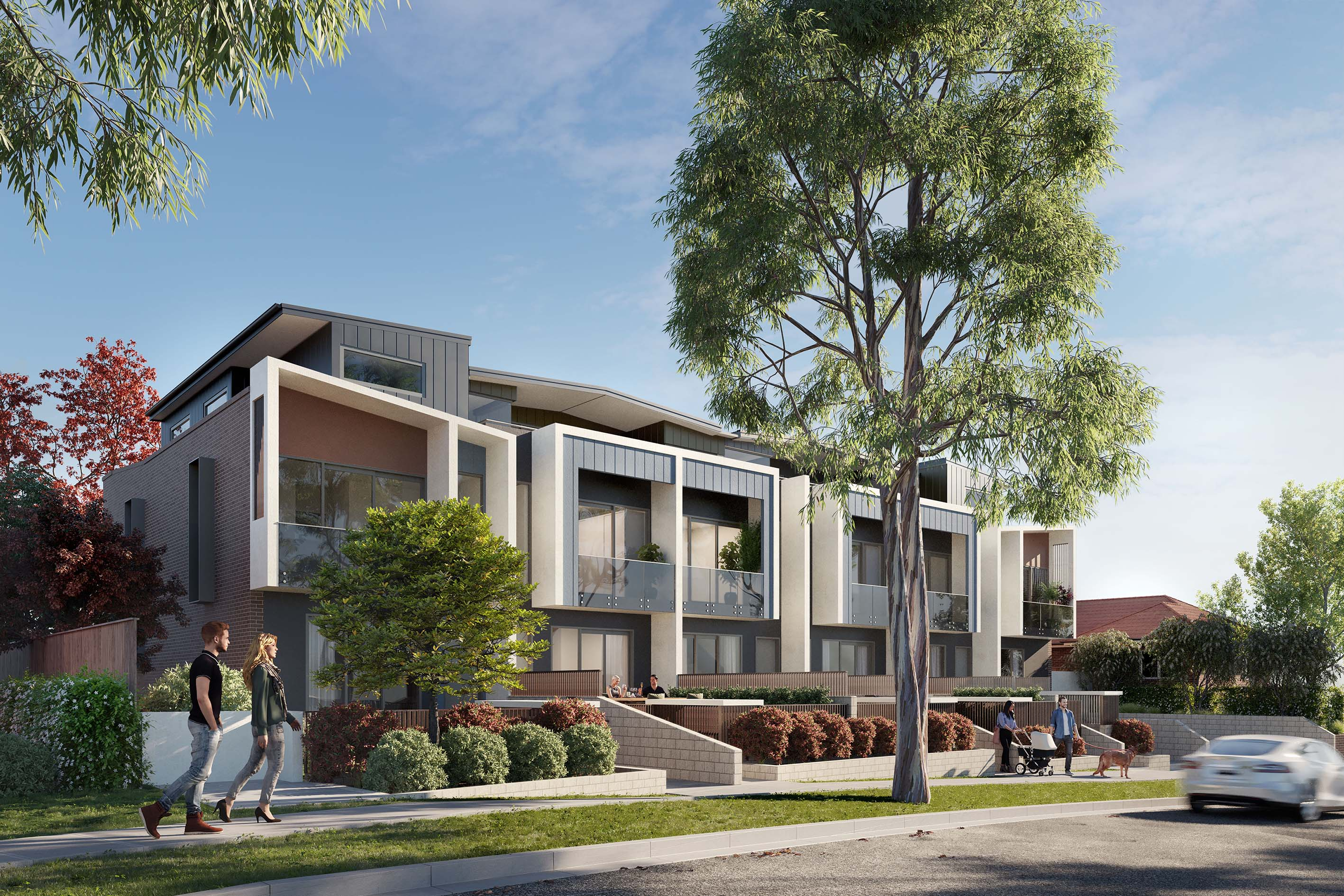 Exterior front CGI of The Terraces apartments