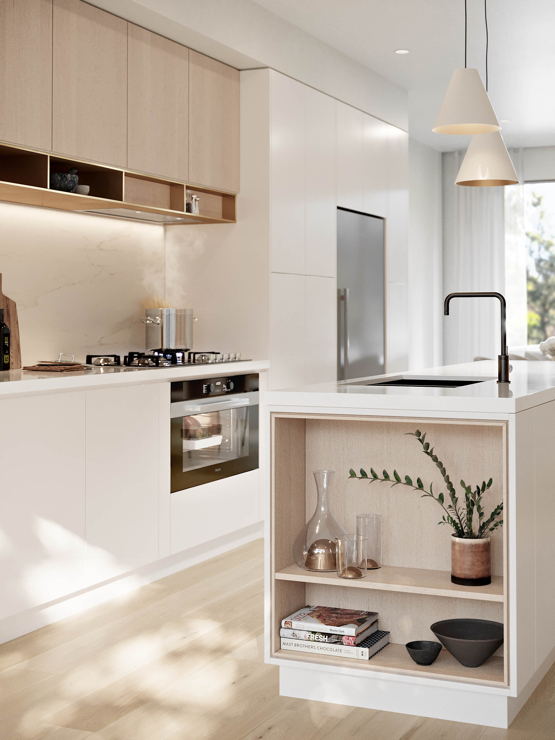 Vignette of the kitchen finishes and styling