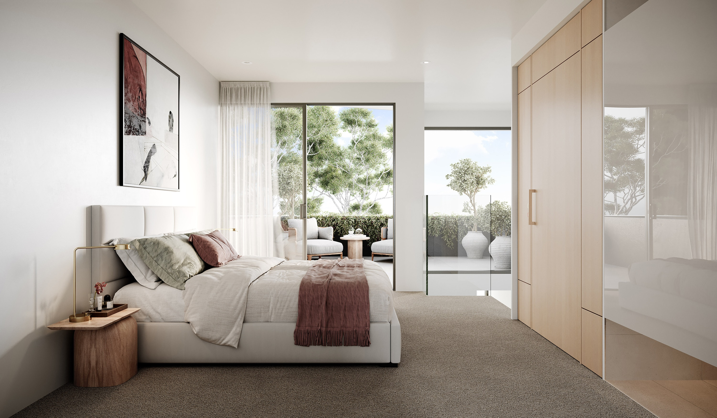 CGI of the master bedroom showing the flow out to the balcony and trees