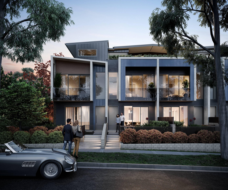 Exterior CGI of the rear garden apartments