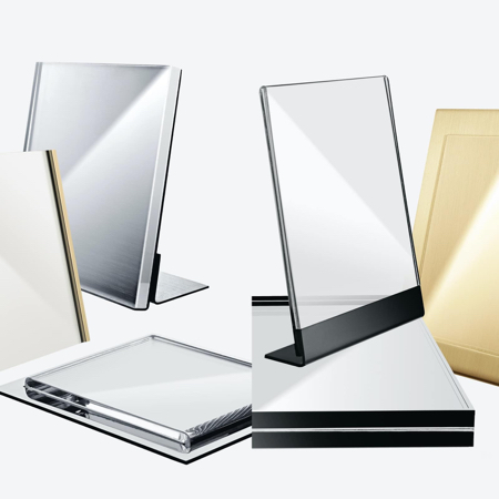 Selection of metal and plexiglass signs for visual merchandisers