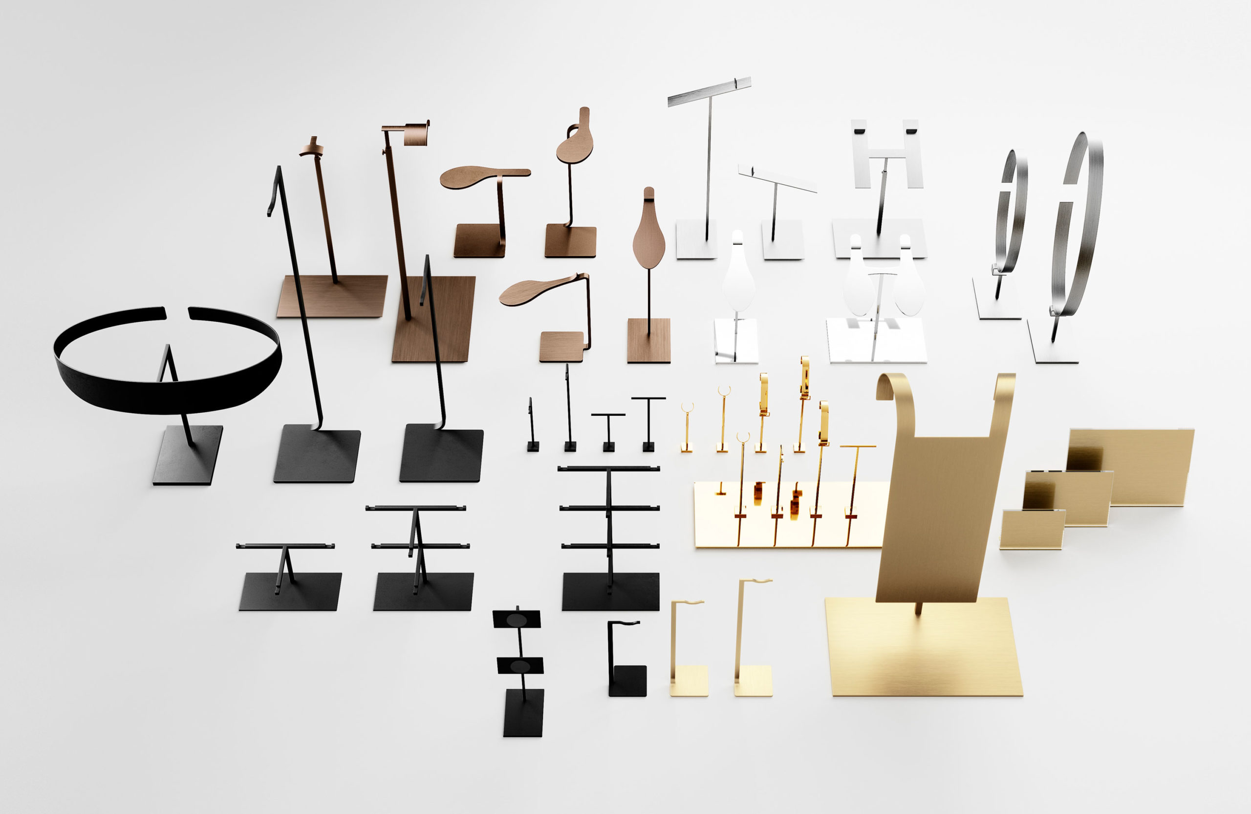 Ec Studio retail display stands in various colours for visual merchandising