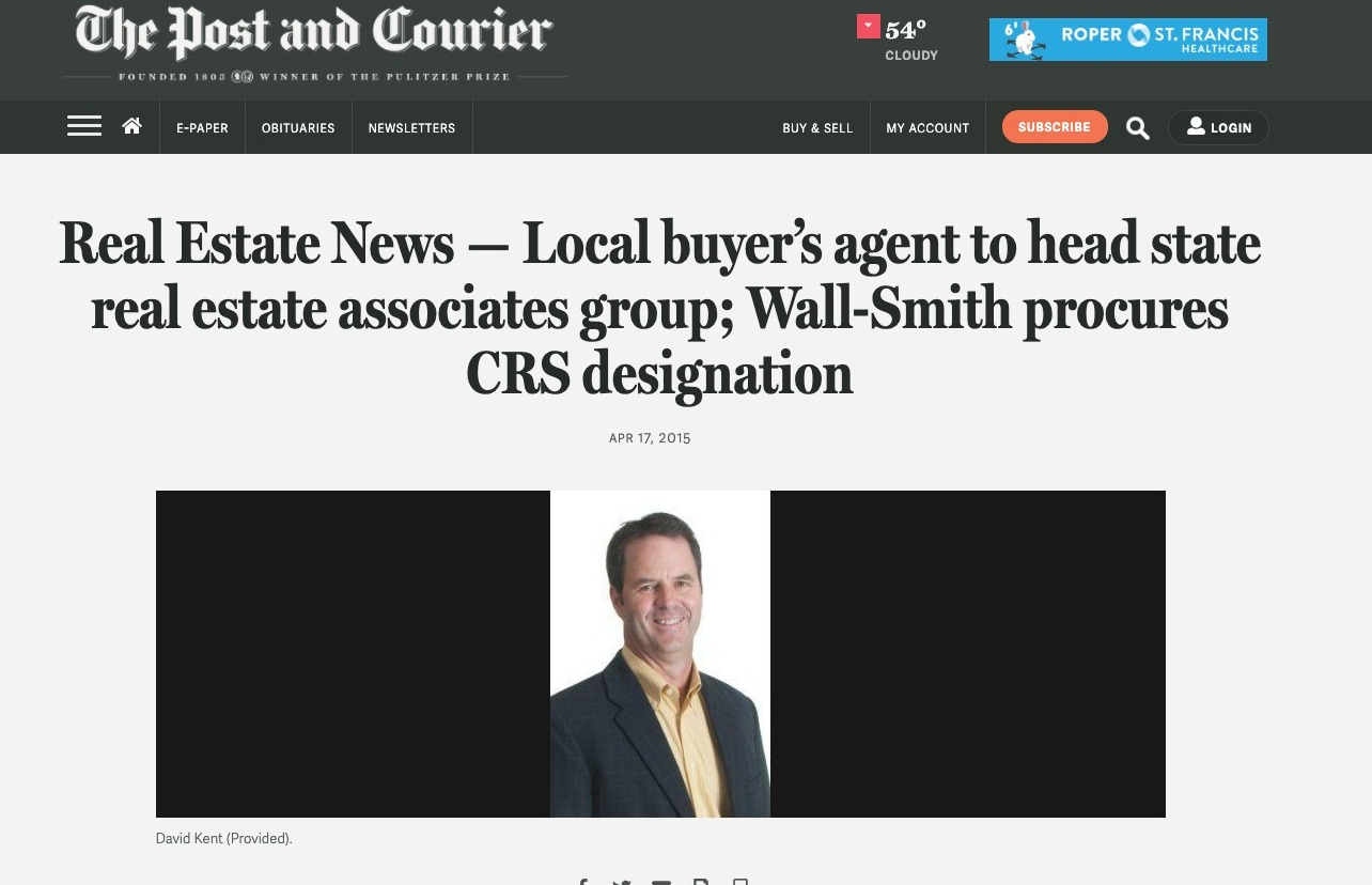Real Estate News — Local buyer's agent to head state real estate associates group; Wall-Smith procures CRS designation