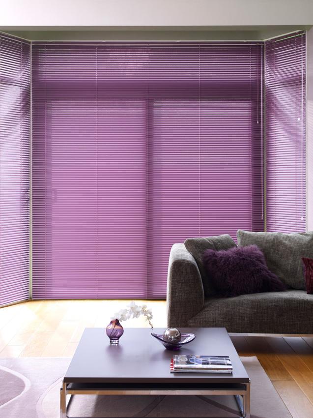 purple venetian blinds