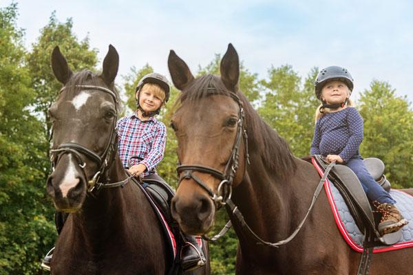 Happy kids on horses