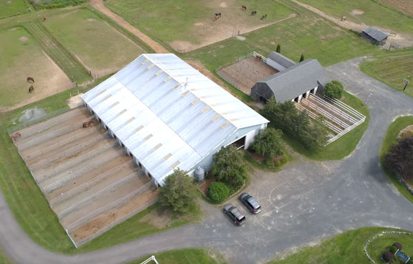 Aerial view of stables