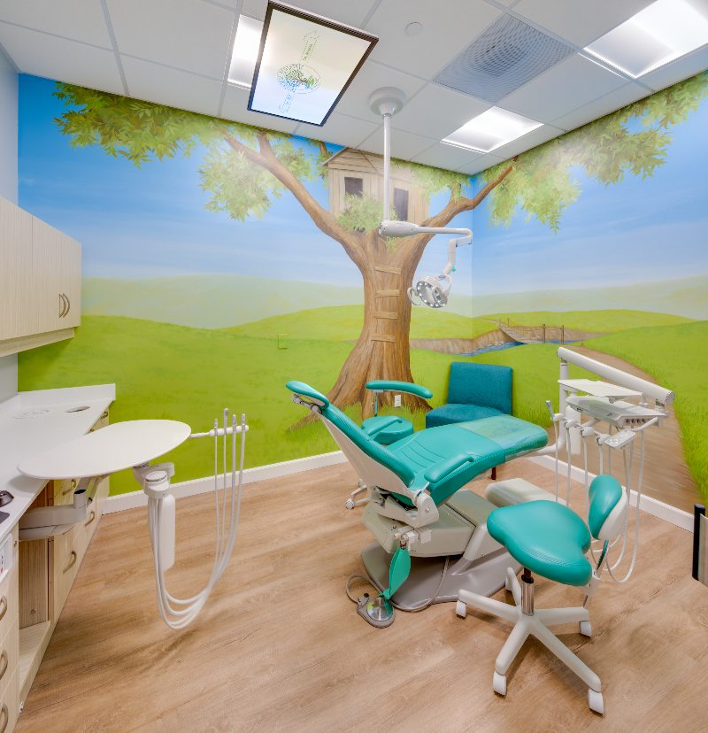The interior of an operatory at Treehouse Pediatric Dentistry