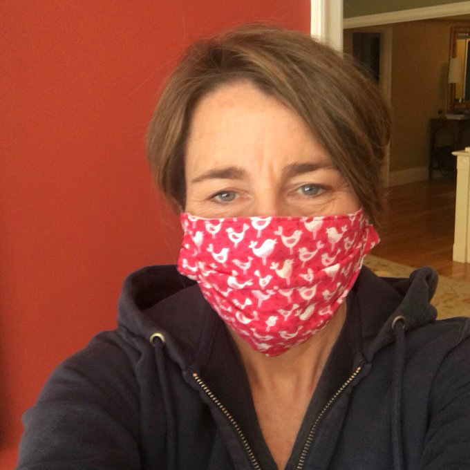 Mass. AG Maura Healey with a protective mask | Facebook